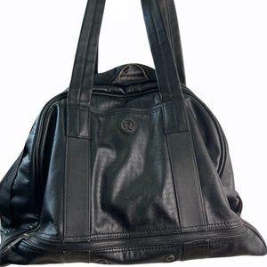 LULULEMON Athletica Black Faux Leather Duffel Gym Bag *Broken Zipper*